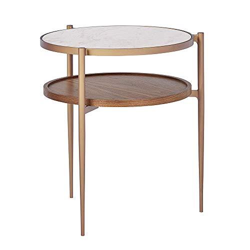 Tables FEI - Bureau d'ordinateur d'appoint en métal avec Double étagère de Rangement en marbre et Bois, Blanc/Laiton/Noyer pour Tous Les postes de Travail