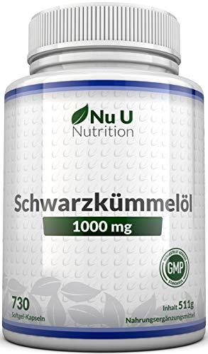 Schwarzkümmelöl Kapseln, 730 Kapseln, 1000 mg pro Portion, Jahresvorrat, ägyptisch, naturbelassen und kaltgepresst, Schwarzkuemmeloel & Vitamin E, hochdosiert, hergestellt in Deutschland