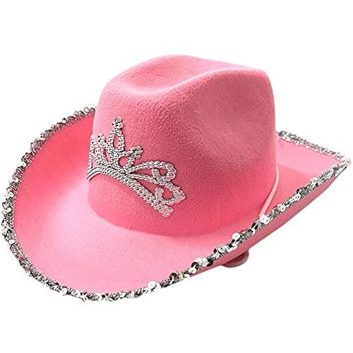 1pc Casquillo del Estilo del Vaquero Occidental Sombrero De Vaquero Rosa con Centelleo Tiara Sombrero De Vaquera De Vacaciones del Partido del Traje Prop
