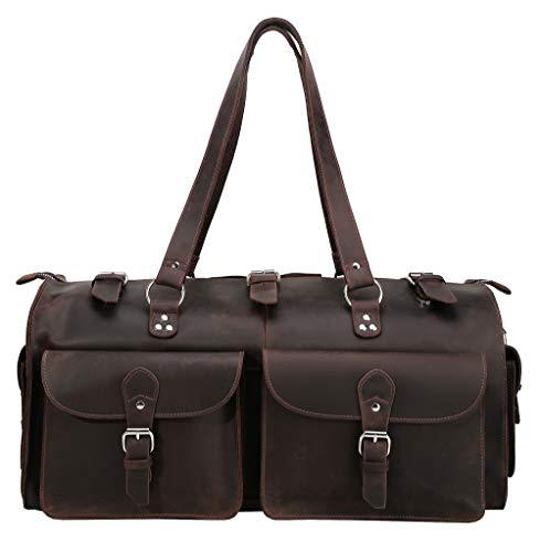 Polare 22'' Indiana Jones Looking Natural Leather Weekender Carry On Duffle Duffel Bag