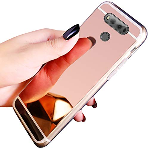 QPOLLY Compatible con LG V20 Funda Glitter Bling Brillante Enchapado Silicona TPU Ultra Delgado Transparente Gel Suave Cubierta Protectora Case Cover para LG V20,Oro Rosa
