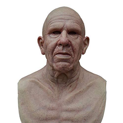 Halloween Látex Vieja Máscara humana Cabello falso Simulación Barba Arrugas Hombres mayores...
