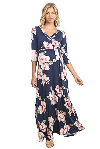 Product Image of the HELLO MIZ Women's Faux Wrap Maxi Maternity Dress with Belt - Made in USA (Large,...