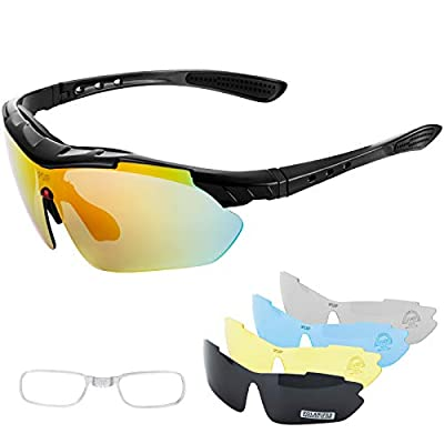 IPSXP Polarized Sports Sunglasses with 5 Interchangeable Lenses,Mens Womens Cycling Glasses,Baseball Running Climbing Fishing Driving Golf?Black?