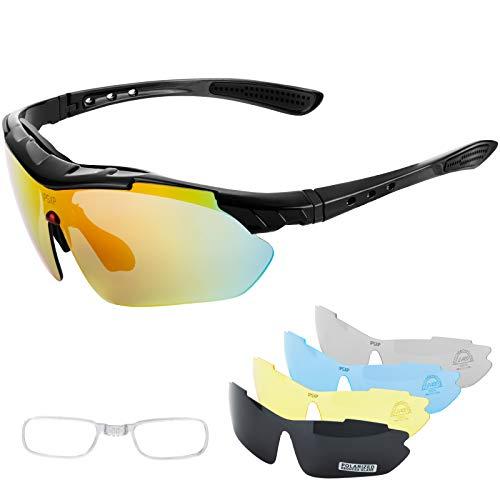 IPSXP Occhiali da sole sportivi polarizzati 5 lenti intercambiabili, occhiali da ciclismo per uomo e donna, corsa di baseball, arrampicata, golf (nero)