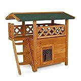 dibea Casa para gatos caseta de madera para gatos con terraza 77x50x73 cm...