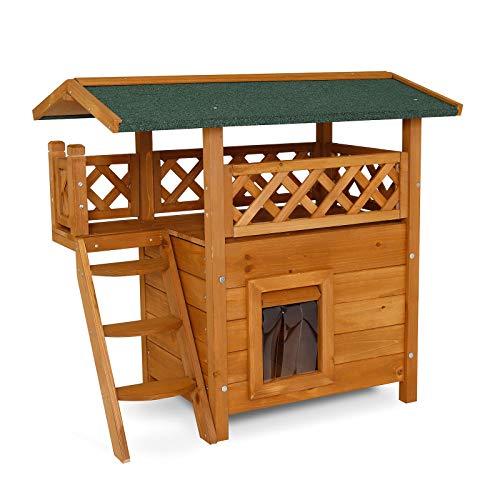 dibea Casa per gatti loggia per gatti villa gatti nicchia gatti cuccia gatti con veranda e scaletta 77x50x73 cm natura/marrone