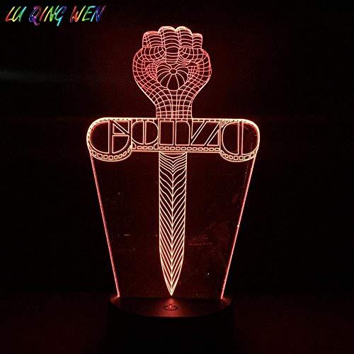 Lámpara de ilusión 3D, luz nocturna Gonzo Dolch, multicolor, ambiente interior de Gonzo First Festival, regalo, lámpara de mesa para dormitorio
