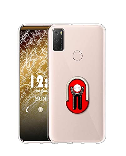 Sunrive Funda Compatible con alcatel 1S (2021), Soporte Teléfono Coche Silicona Transparente Gel Carcasa Case Bumper Anti-Arañazos Espalda Cover Anillo Kickstand 360 Grados Giratorio(Rojo)