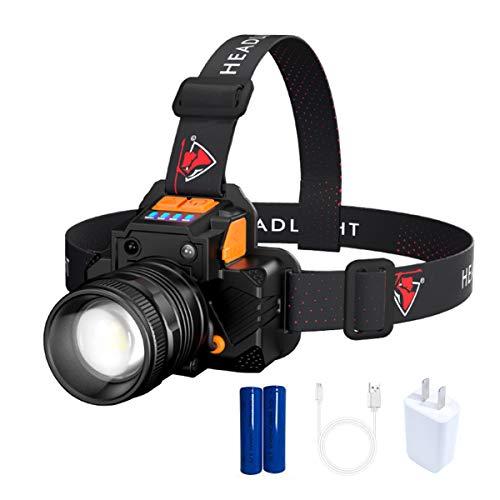 ZFZZC Stirnlampe, LED Stirnlampe Wasserdicht Super Hell USB Wiederaufladbare Headlight,3 Helligkeiten, 90° Verstellbar, Fokusverstellbar für Gehen, Laufen, Camping, Wandern, Angeln