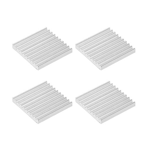 sourcing map 2.5x19x19mm Silver Tone Aluminum Heatsink Thermal Adhesive Pad Cooler for Cooling 3D Printers 4Pcs