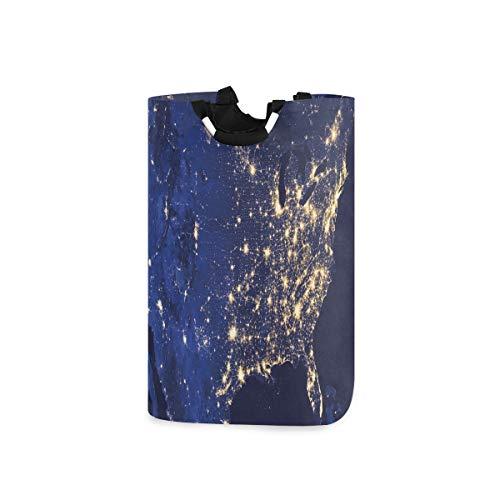 COFEIYISI Wäschesammler Wäschekorb Faltbarer Aufbewahrungskorb,Night America Continent Space Print,Wäschesack - Wäschekörbe - Laundry Baskets