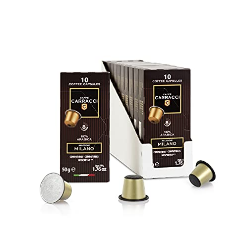 Caffè Carracci, Capsule Compatibili Nespresso, Milano 100% Arabica, 10 Astucci da 10 Capsule (Totale 100 Capsule)