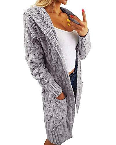 Minetom Strickjacke Damen Elegant Verdickte Lang Strickmantel mit Kapuze Herbst Winter Warm Lang Mantel mit Tasche Oversize Pullover Pulli Hoodie Outwear Cardigan Tops (Einheitsgröße (DE 34-44), Grau)