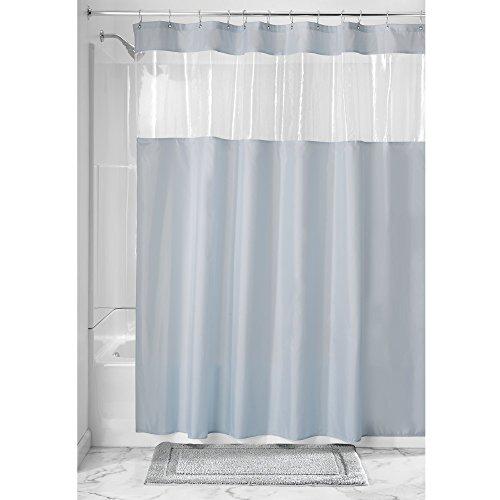 iDesign Duschvorhang | Stoff Duschvorhang mit Sichtfenster | schlichter Badewannenvorhang in der Größe 183,0 cm x 183,0 cm | Polyester graublau/durchsichtig