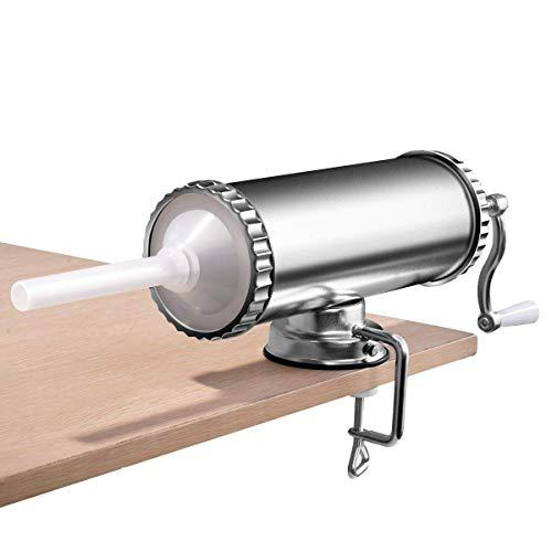 COSTWAY 3L Insaccatrice per Salsiccia Macchina per la Produzione di Salsicce Insaccatrice Manuale, in Acciaio Inossidabile, Salsicce Siringa con 3 Tubi di Riempimento