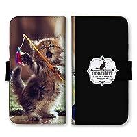 Xperia XZ3 (docomo SO-01L / au SOV39 / SoftBank 801SO) (L) 手帳型 スマホ ケース カバー スマホケース スマホカバー 子猫 遊ぶ ブラック xperiaxz3 エクスペリアxz3 21947