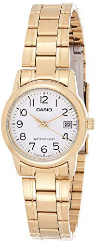 Casio #LTP-V002G-7B2 Women's Analog Gold Tone White Easy Rea