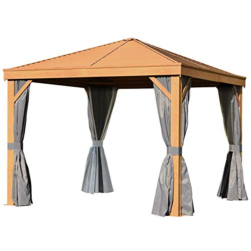Outsunny 10' x 10' Steel Hardtop Gazebo Wood Effect Pattern with Netting and Screened Curtains Sidewalls