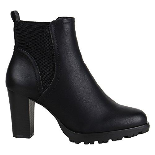 Damen Stiefeletten Biker Boots Used Look Prints Metallic Schuhe 152622 Schwarz Camiri 39 Flandell