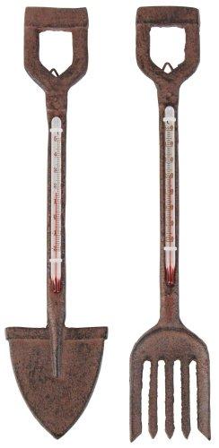 Esschert Design Thermometer, Temperaturmesser Motiv Spaten oder Gabel, Sortiert, 1 Stück, ca. 5 cm x 27 cm