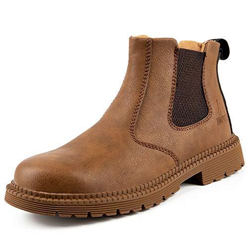 [マンディー] 安全靴 防水 ハイカット あんぜん靴 作業靴 ブーツ 鋼先芯 おしゃれ 耐滑 セーフティシューズ 軽量 衝撃吸収 チェルシー ブーツ 815/マスタード/42