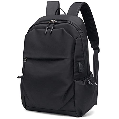 Sport Backpack College School Bookbag 15.6 Inch Laptop Backpacks Casual Daypack with USB Charging Port Headset Port for Men Women (Black)