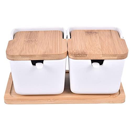 1 set di ciotole con stagioni ceramiche rack Pots ciotole con cucchiaio e scatola di porcellana e copertura di bambù - contenitore di stoccaggio Jars condimento (Color : WTP2)