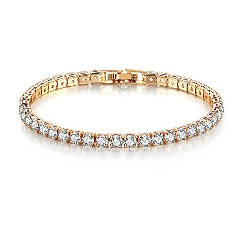 Pulsera para mujer, estilo de lujo, garras, circonita cúbica, oro rosa, color plateado, joyería de boda, H074 17CM