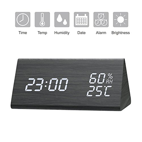 StillCool Despertador de Madera Reloj Digital con LED con luz de Fondo Blanca, Brillo de 3 Niveles,...