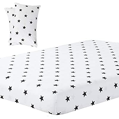 Vaulia Lightweight Soft Microfiber Fitted Sheet, Printed Black/White Little Star King Size, 3-Piece Set (1 Fitted Sheet 2 Pillowcases)