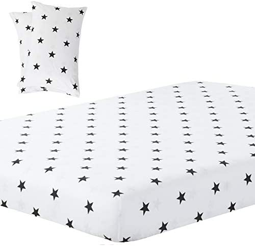 Vaulia Lightweight Soft Microfiber Fitted Sheet Printed Black White Little Star Queen Size 3 product image