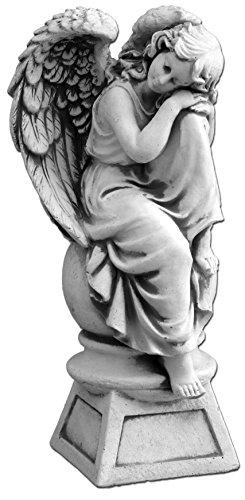 gartendekoparadies.de Massive Steinfigur Stein Engel auf Podest aus Steinguss frostfest