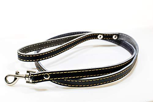 Pasima hondenriem echt leer handwerk exclusieve handgemaakte lederen hond linnen huisdierlijn, zwart