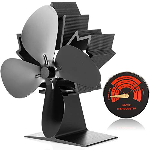 CWLAKON Wood Stove Fan-Silent Operation 4 Blades with Stove Thermometer for Wood/Log Burner/Fireplace,Eco Friendly and Efficient Heat Distribution (2020 New Designed)