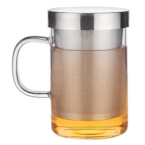 Gaoominy Taza de InfusióN de Té de Vidrio Resistente al Calor de Viaje de 500 Ml con Tapa de Acero Inoxidable Taza de Café Vaso Cocina Resistente al Calor Grande