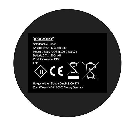 DEUBA Poly Rattan LED Solarleuchte Solarlampe schwarz | 70cm Hoch | Stehend | Für Garten, Balkon & Terrasse - Außenleuchte Gartenleuchte Gartenbeleuchtung Solar Gartenlampe Außen - 7