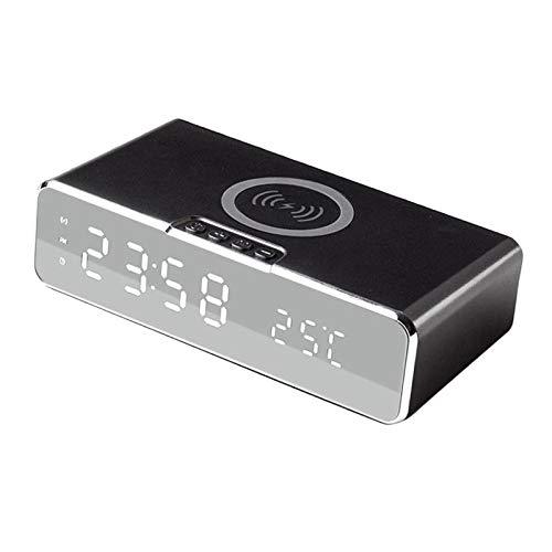 IPOTCH Reloj Despertador Digital con Cargador inalámbrico Reloj Despertador LED de Escritorio con termómetro y Cargador inalámbrico USB de 10W para la - Negro