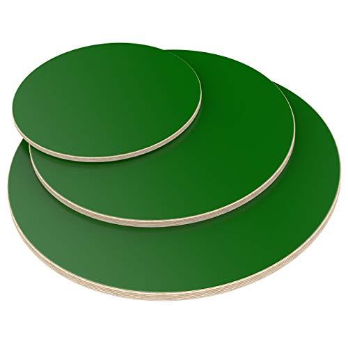 AUPROTEC Tischplatte 18mm rund Ø 1000 mm grün Multiplexplatte melaminbeschichtet von 20cm-120cm auswählbar runde Sperrholz-Platten Birke Massiv Multiplex Holz Industriequalität