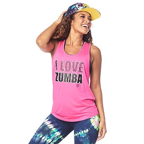 Zumba Fitness Dance Atlético Estampado Fitness Camiseta Mujer Sueltas de Entrenamiento Top Deportivo Loose Tank, Shocking Pink 0, S