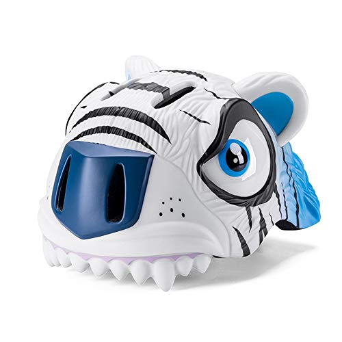 ROCKBROS Outdoor Sports Kinderhelm Cartoon Mountainbike Schutzhelm Cartoon Tiger weiß blau