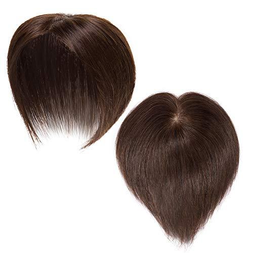 Topper Extensions Echthaar Clip in Extensions Echthaar Toupet Haarteile Echthaar für Frauen Weich Natürlich Haarverlängerung 6x9cm Seide Basis 7A Remy Haare 15cm-15g 04#...