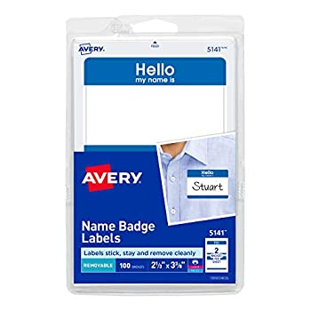 """Avery Hello My Name is Name Tag Stickers Blue Border 100 Removable Name Badges 2-1/3"""" x 3-3/8""""  5141"""