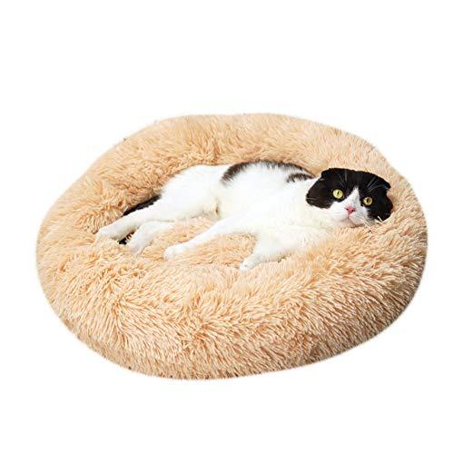 huangThroStore Cama calmante para Perros y Gatos, Cama de Felpa para Cachorros y Perros, Amarillo, 70 cm