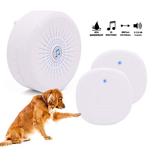 Timbre inalámbrico para puerta de perro, timbre de entrenamiento de mascotas, timbre inteligente de comunicación para perro con botón de presión superligero