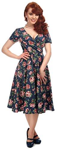 Collectif Damen Kleid Maria Bloom Rosen Swing Dress Blau M
