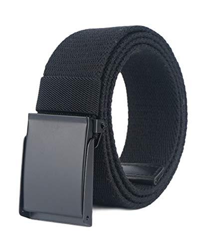 Longwu Cintura da uomo in tela di cotone con fibbia militare in metallo nero Flip-Top per il golf all'aperto Nero