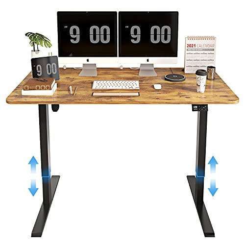 MAIDeSITe Electric Height Adjustable Standing Desk with 4 Memory Controller, 55 x 28 Inches Splice Board, Black Frame/Vintage Top