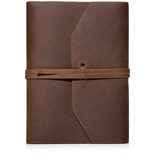 LEATHER JOURNAL REFILLABLE Writing Notebook - Lay Flat Lined Notebook, Handmade Leather Bound Diary for Men & Women, Best Gift for Travel Diary, Creative Writing & Notebooks to write in, Large 6x8
