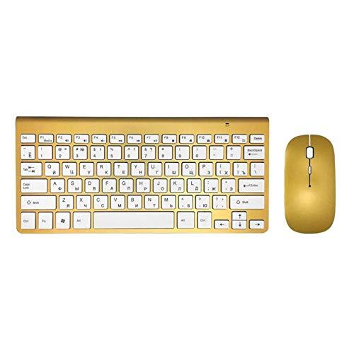 Ys-s Personalización de la Tienda Radio Ultra Delgado Teclado Mouse Combo 2.4G Ratón de Radio para para para para por de Apple Keyboard Style Mac Win XP / 7/8/10 TV Teclado Ruso (Color : KG MG)